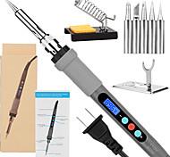 abordables -fer à souder à souder avec écran thermostatique à commande numérique et écran LCD 60 w température réglable 180 / 356-480 / 896 avec 5 pièces à souder 2 supports de fer à souder&ampli; 1 éponge