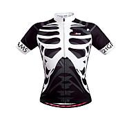 abordables -21Grams Homme Manches Courtes Maillot Velo Cyclisme Noir / Blanc Squelette Cyclisme Maillot Sommet VTT Vélo tout terrain Vélo Route Respirable Séchage rapide Des sports Vêtement Tenue / Elastique