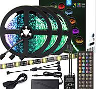 economico -zdm pcb nero di alta qualità 15m (3 * 5m) temporizzazione della musica controllo sincrono barra luminosa flessibile 5050 rgb ir 40 chiave controller con kit adattatore 12v 6a