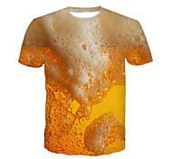 economico -Per uomo maglietta Pop art 3D Birra Taglie forti Con stampe Manica corta Feste Top Giallo