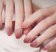 economico -24pcs unghie finte in polvere trapano sfumato tondo pezzo di chiodo falso che indossa un bastoncino finito unghia punte di chiodi speciali unghie finte