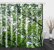 abordables -Rideau de douche en tissu imperméable imprimé numérique feuilles vertes denses pour salle de bain décor à la maison couvert de rideaux de baignoire