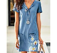 economico -Per donna Abiti di jeans Mini abito corto Blu Manica corta Fantasia floreale Tasche Estate A V caldo Casuale 2021 M L XL XXL 3XL