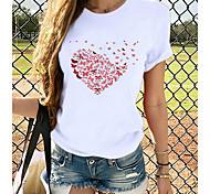 economico -Per donna maglietta Con cuori Stampe astratte Stampe Rotonda Top 100% cotone Top basic Gatto Bianco Viola