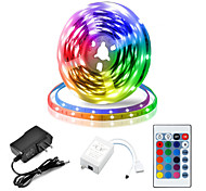 abordables -5m Bande lumineuse LED Ruban LED Ensemble de Luminaires 300 LED SMD 2835 8mm 1 24Keys Télécommande 1 set RGB Découpable Connectible Auto-Adhésives 12 V