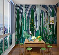 abordables -Papier peint mural auto-adhésif personnalisé style de dessin animé pour enfants cactus vert adapté à la décoration de la maison de l'école