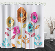 abordables -papier découpé art fleurs impression numérique étanche tissu rideau de douche pour salle de bain décor à la maison couvert baignoire rideaux doublure comprend avec des crochets