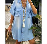 economico -Per donna Abito camicia di jeans Mini abito corto Blu Mezza manica Modello Tasche Estate Colletto caldo Casuale 100% cotone Oversize 2021 S M L XL XXL 3XL