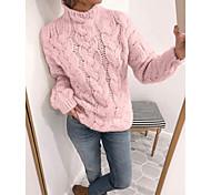 economico -Per donna Tinta unita Maglione Manica lunga Maglioni cardigan A collo alto Giallo Rosa Beige
