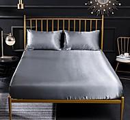 abordables -drap-housse en soie drap de lit de refroidissement rides se fanent résistant aux taches drap de lit de poche profonde doux