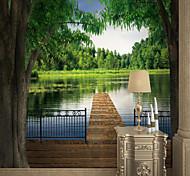 abordables -Personnalisé auto-adhésif mural beau lac adapté pour fond mur restaurant chambre hôtel décoration murale art décoration de la maison moderne revêtement mural