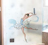 abordables -Bande dessinée danse fille motif mat fenêtre autocollant salle de bain cuisine chambre d'enfant boutique salon chambre balcon fenêtre film 60 * 58 cm