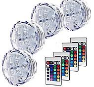 economico -luci sommerse per esterni 4 pezzi 5 w luci subacquee per vasi da piscina& acquari impermeabile telecomando dimmerabile cambia 1.2 v adatto 10 perline led