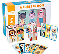 economico -Modellini di legno Puzzle Cube Giocattoli di logica e puzzle Cartone animato Creativo Personaggi di cartoni animati trasformabile Interazione tra genitori e figli di legno 6 pcs Per bambini Da bambino