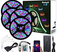 abordables -20m (4x5m) App Contrôle Intelligent Bluetooth Musique Sync Bande LED Flexible Lumières 2835 RGB SMD 1080 LED IR Contrôleur Bluetooth 24 Touches avec Kit Adaptateur 12V