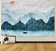abordables -Peinture à l'encre de Chine style tapisserie murale art décor couverture rideau suspendu maison chambre salon décoration paysage montagne soleil