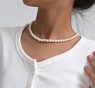 economico -Per donna Collana Elegante Di tendenza Perle finte Bianco 52 cm Collana Gioielli Per Da sera Mascherata Spiaggia