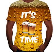 abordables -Homme T-shirt Graphique Bière Imprimé Manches Courtes Quotidien Hauts basique Noir Bleu Rouge