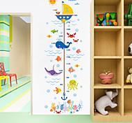 abordables -Dessin animé animaux crabe requin baleine hauteur mesure sticker mural pour chambres d'enfants tableau de croissance pépinière chambre décor art mural 2 pièces 9520 cm