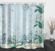 abordables -Rideau de douche en tissu imperméable imprimé numérique jungle peint à la main pour salle de bain décor à la maison couvert de rideaux de baignoire comprend des crochets