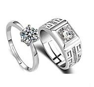 economico -Anelli per coppie Zircone cubico Classico Argento Rame Diamanti d'imitazione Fiore decorativo Alla moda 2 pezzi Regolabile / Da coppia