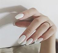 economico -24pcs plastica opaca creativa unghie finte bara unghie finte adesivi colla stampa su unghie finte unghie artificiali di colore opaco puro per donne e ragazze (bianco)