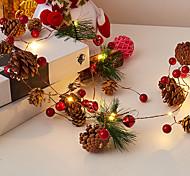 abordables -2m 20 LED Pin Cône Guirlande Lumineuse À La Main Cloche Pin Cèdre Star Guirlande Flexible String Light Garden Tree Lampe Pour Cadeau De Noël Nouvel An Décor Éclairage À Piles (Sans Batterie)