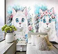 abordables -Personnalisé auto-adhésif mural fleur chat adapté pour fond mur restaurant chambre hôtel décoration murale art décoration de la maison