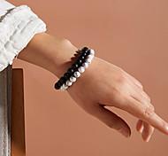 abordables -2 pièces Bracelet de perles Bracelet vintage Bracelet Couple Perlé Mode Mode Rétro Vintage Classique Tendance Décontracté / Sport Bracelet Bijoux Noir + Blanc Irrégulier pour Soirée Cadeau