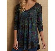 economico -Per donna maglietta Astratto Manica lunga Con stampe A V Top Cotone Essenziale Top di base Blu Viola Vino