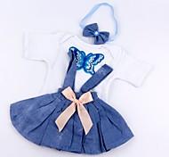 abordables -Vêtements de poupées Reborn Baby Accessoires de poupée Reborn Tissu en Coton pour poupée Reborn 17-18 pouces Poupée Reborn Non Incluse Jupe Doux Pur fait main Fille 3 pcs