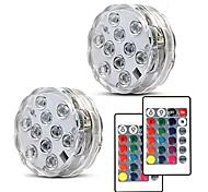 economico -2x lampada subacquea ip68 con due pezzi di luce subacquea rgb smd5050 telecomandata gratuita aaa a batteria per vaso da vaso per feste da giardino piscina illuminazione per decorazioni