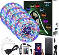 economico -zdm 20m (4 * 5m) app controllo intelligente bluetooth musica sync flessibile strisce led flessibili impermeabili 2835 rgb smd 1080 led ir 24 tasti controller bluetooth con kit adattatore 12v