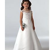 economico -Linea-A Lungo Feste / Matrimonio Abiti da ragazza di fiori - Di pizzo Senza maniche Con decorazione gioiello con Perline