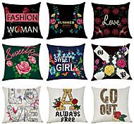 economico -Fodera per cuscino in lino 9 pezzi, classico tradizionale tradizionale inglese floreale floreale quadrato