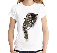 economico -Per donna maglietta Gatto Pop art 3D Con stampe Rotonda Top 100% cotone Essenziale Top basic Marrone scuro Gatto Gatto bianco