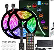 economico -zdm 10m (2 * 5m) strisce luminose a led rgb luci tiktok sincronizzazione musicale temporizzato flessibile remoto 5050 smd 300 led ir 40 chiave controller con pacchetto di installazione kit adattatore