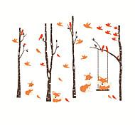 abordables -forêt de renard nature morte / floral / botanique stickers muraux avion stickers muraux stickers muraux décoratifs pvc décoration de la maison sticker mural décoration de mur / fenêtre 1 pc 32 * 36.5