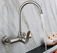 abordables -304 en acier inoxydable double trou mural robinet d'eau chaude et froide balcon buanderie piscine tournant robinet de cuisine chaud et froid