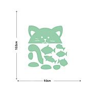 abordables -autocollants lumineux chats et petits poissons décoration de fond de maison peuvent être librement collés et autocollants amovibles 9 * 10cm