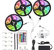 abordables -KWB 3x5M Bande lumineuse LED Ruban LED Ensemble de Luminaires Barrette d'Eclairage RGB Lumières intelligentes 450 LED SMD5050 10mm 1 24Keys Télécommande 1Set Support de montage 1 set RGB Imperméable C