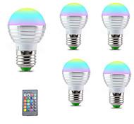economico -5pcs e27 e14 lampadina a led lampada rgb 110v 220v 3w rgbw lampadina a led 16 colori con telecomando ir camera da letto decor