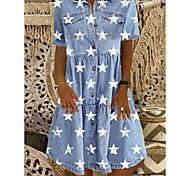 abordables -Femme Robe chemise en jean Robe Longueur Genou Bleu Manches Courtes Etoile Bouton devant Imprimé Eté Col de Chemise Simple 2021 M L XL XXL 3XL