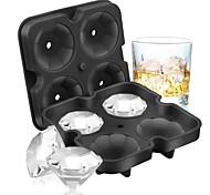 abordables -4 Grilles Diamant Bac À Glaçons Réutilisable Glaçons Maker Silicone Moules À Crème Glacée Forme Moule À Chocolat Whisky Party Bar Outils