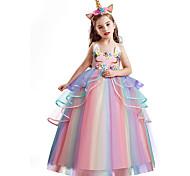 economico -Da principessa Unicorno Da ragazza Vestiti Abito da ragazza di fiori Cosplay di film A palloncino vestito da vacanza Bianco Viola Rosa Giornata universale dell'infanzia Mascherata Abito Tulle