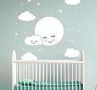 abordables -dessin animé visage heureux blanc nuage étoile stickers muraux avion stickers muraux stickers muraux décoratifs pvc décoration de la maison sticker mural décoration murale 1 pc 80 * 78.5 cm