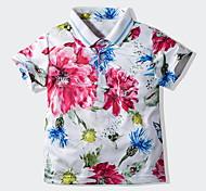 economico -Bambino Bambino (1-4 anni) Da ragazzo maglietta T-shirt Manica corta Fantasia floreale Bianco Cotone Bambini Top Moda città