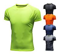 abordables -Homme Manches Courtes Chemise de course Tee-shirt Soie Glacée Respirable Séchage rapide Evacuation de l'humidité Aptitude Exercice Physique Fonctionnement Marche Le jogging Tenue de sport Couleur