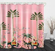 abordables -Peinture éléphant cocotier numérique impression imperméable tissu rideau de douche pour salle de bain décor à la maison couvert baignoire rideaux doublure comprend avec des crochets