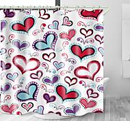 abordables -Rideau de douche en tissu imperméable imprimé numérique amour en forme de coeur pour salle de bain décor à la maison couvert de rideaux de baignoire avec des crochets